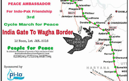 Third 'cycle march' for peace – Jan 1, 2016