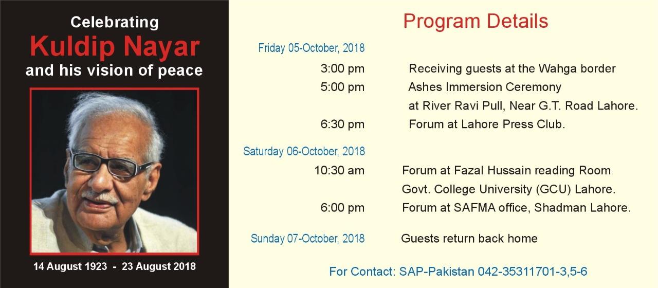 Seminars, tree-planting to accompany Indian journalist Kuldip Nayar's ashes immersion ceremony in Pakistan