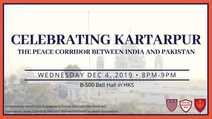 Student groups at Harvard Kennedy School to celebrate Kartarpur corridor